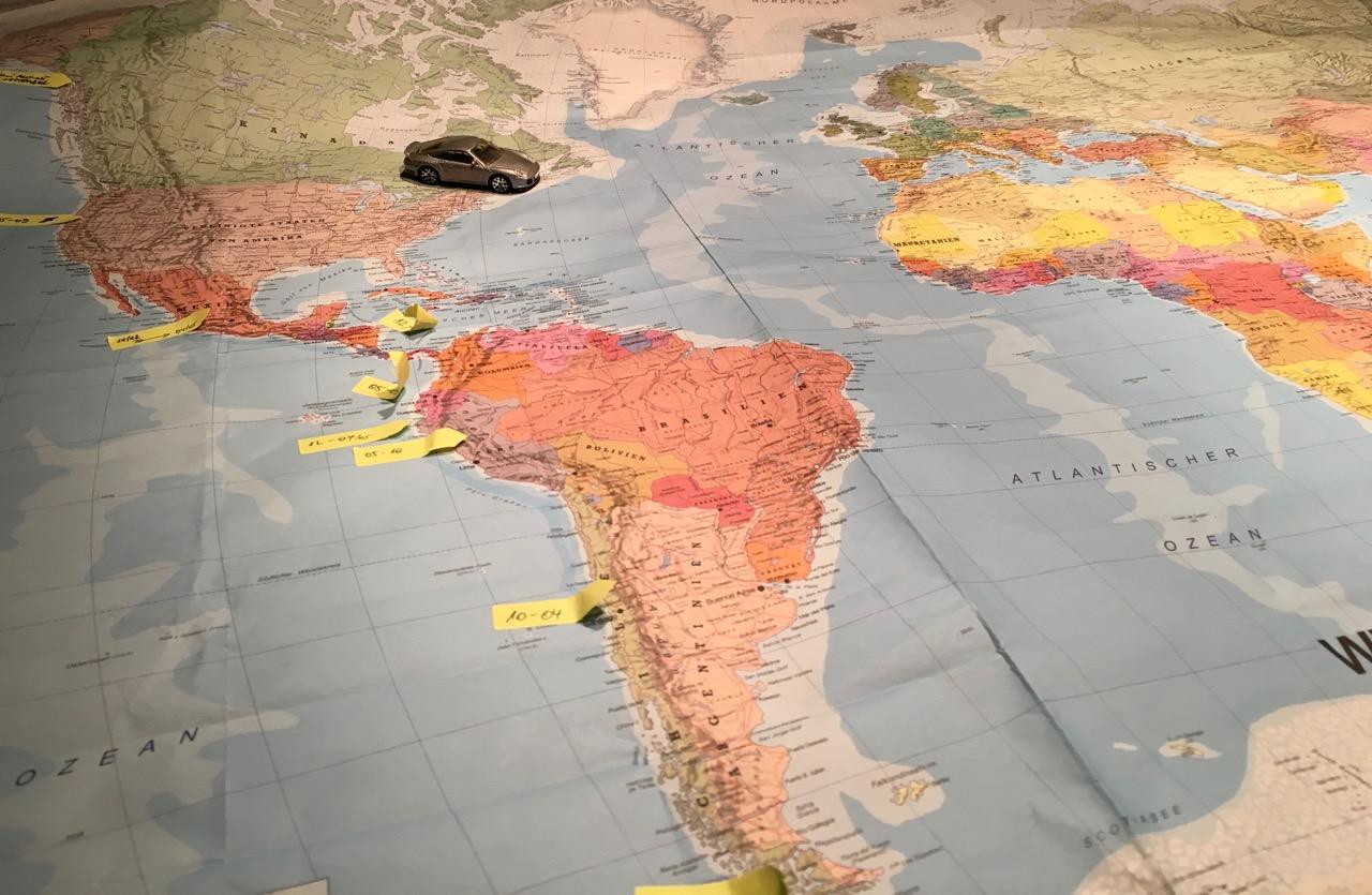 Routenplanung mit der Weltkarte